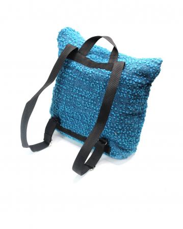 Rucsac de umar handmade tesut manual la razboiul de tesut, albastru [1]