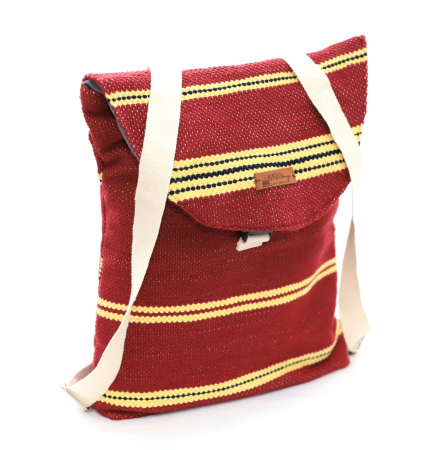 Rucsac de umar handmade tesut manual la razboiul de tesut, visiniu [3]