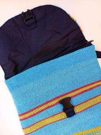 Rucsac de umar handmade tesut manual la razboiul de tesut, turcoaz [3]