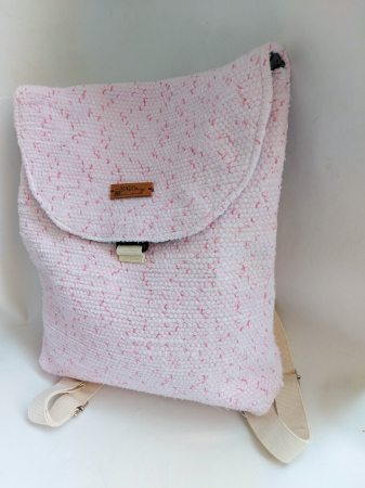 Rucsac de umar handmade tesut manual la razboiul de tesut, roz [1]