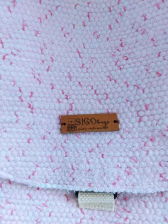 Rucsac de umar handmade tesut manual la razboiul de tesut, roz [2]