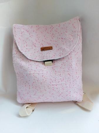 Rucsac de umar handmade tesut manual la razboiul de tesut, roz [0]