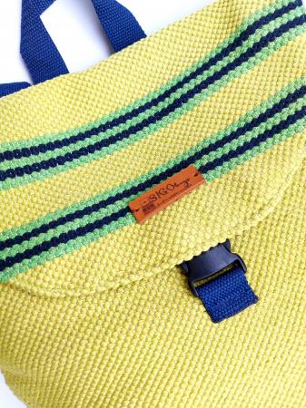 Rucsac de umar handmade tesut manual la razboiul de tesut, verde [6]