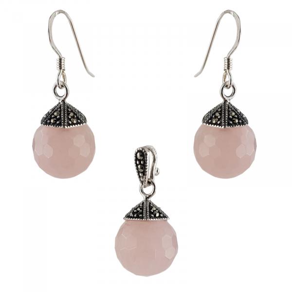 Set Argint 925% cu marcasite si cuart roz [0]