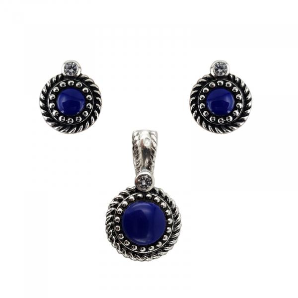 Set Argint 925% cu Lapis Lazuli si aspect usor vintage [0]