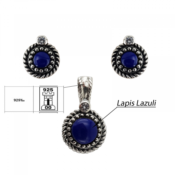 Set Argint 925% cu Lapis Lazuli si aspect usor vintage [2]