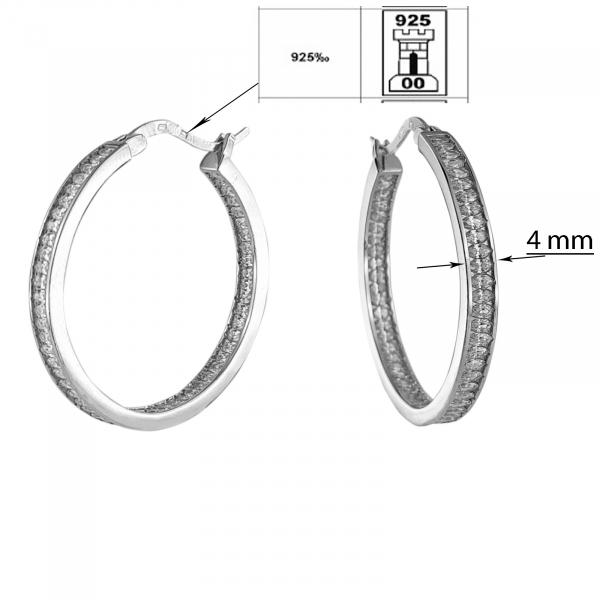 Creole Argint 925% cu zirconii albe si diametrul de 35mm [2]