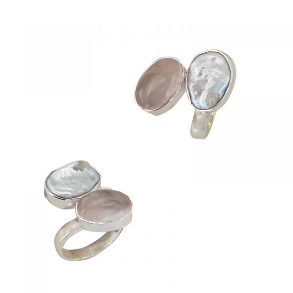 Inel Argint 925 cu Sidef si Quartz roz [0]
