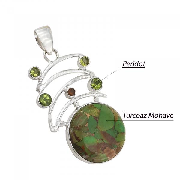 Medalion Argint 925% cu Turcoaz Mohave si Peridot [2]