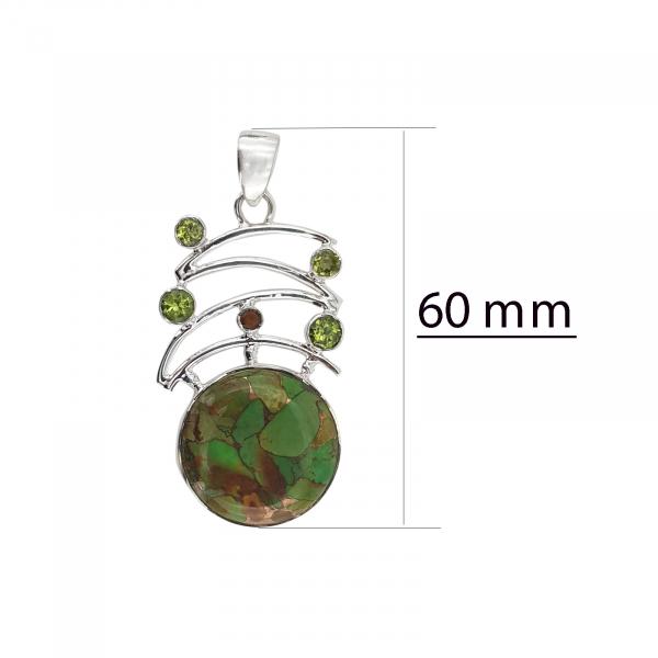 Medalion Argint 925% cu Turcoaz Mohave si Peridot [3]