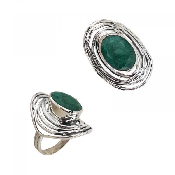 Inel Argint 925% cu smarald [0]