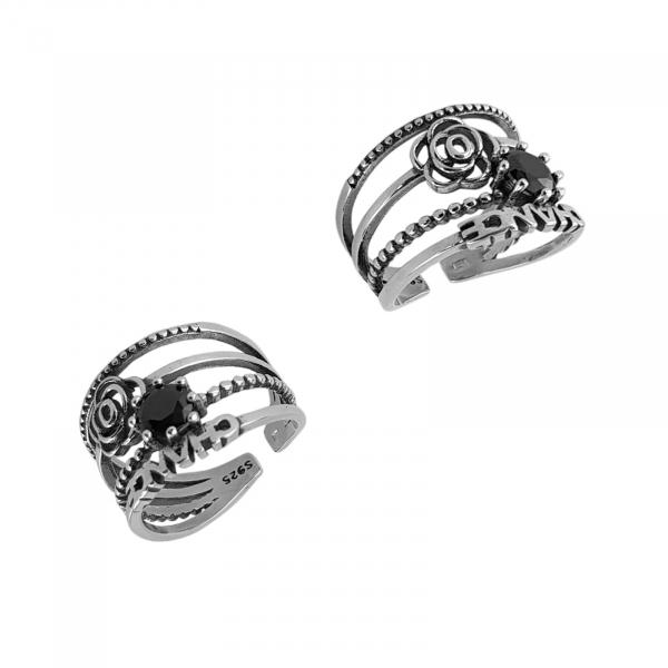 Inel Argint 925% cu aspect vintage si black cubic zirconia [2]