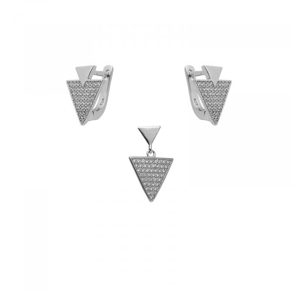 Set Argint 925% , triunghiuri incrustate in CZ [0]