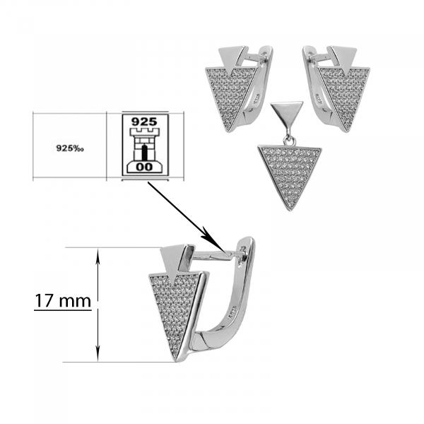 Set Argint 925% , triunghiuri incrustate in CZ [1]