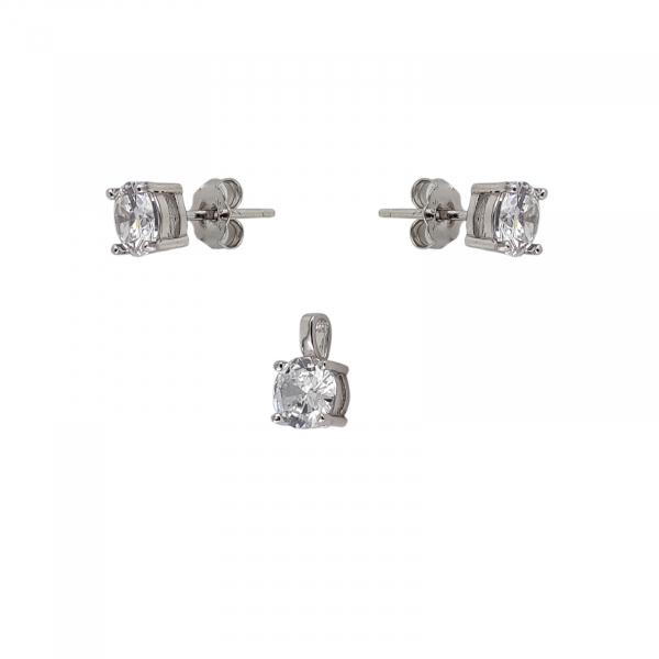 Set Argint 925% cu CZ albe de 6mm [1]