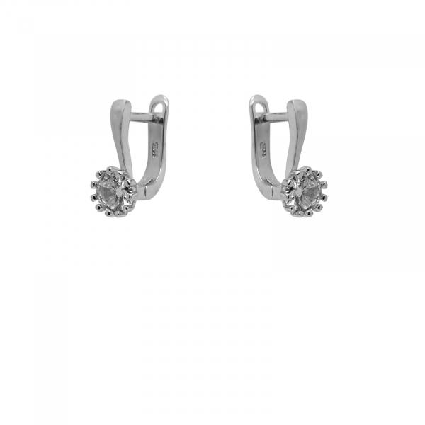 Cercei Argint 925% clasici cu zirconia alb de 7mm [0]