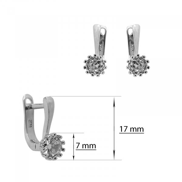 Cercei Argint 925% clasici cu zirconia alb de 7mm [2]