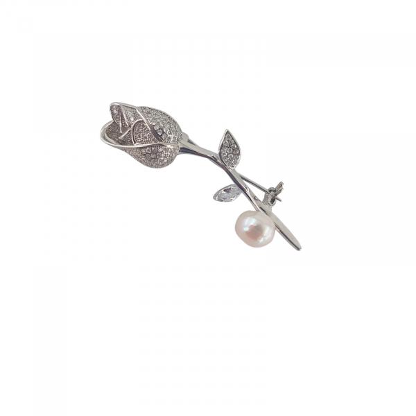 Brosa florala Argint 925% cu perla [0]