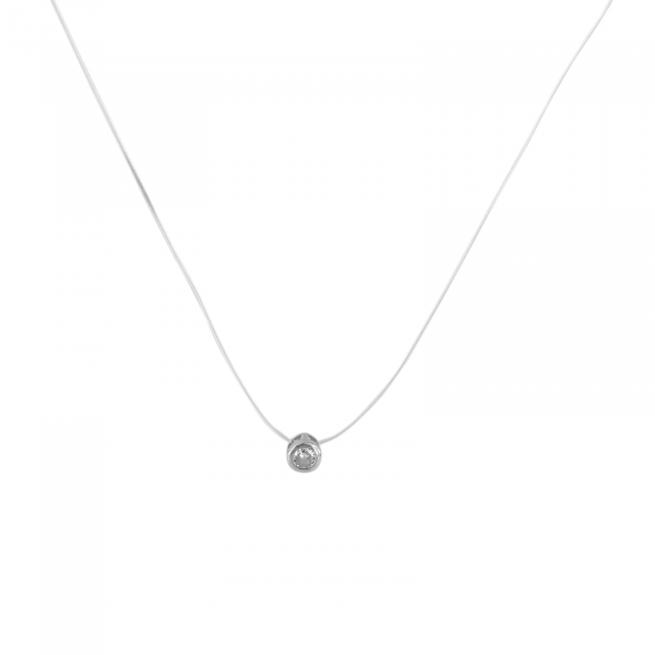 Colier Argint 925% pe silicon transparent cu zirconia de 6mm [0]