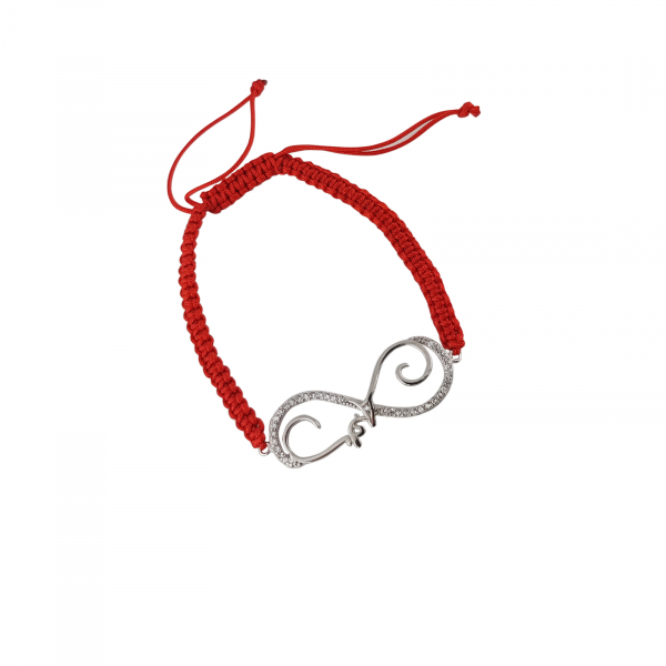 Bratara Argint 925% infinit stilizat cu snur rosu [0]