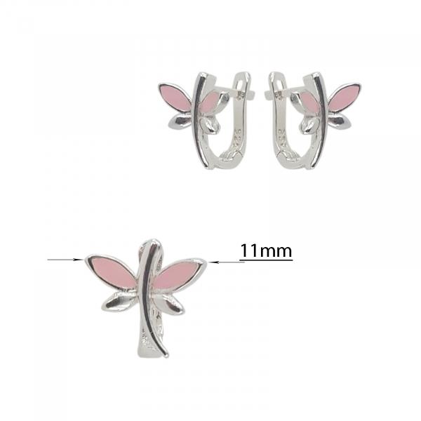 Cercei Argint 925% Pink DragonFly [2]