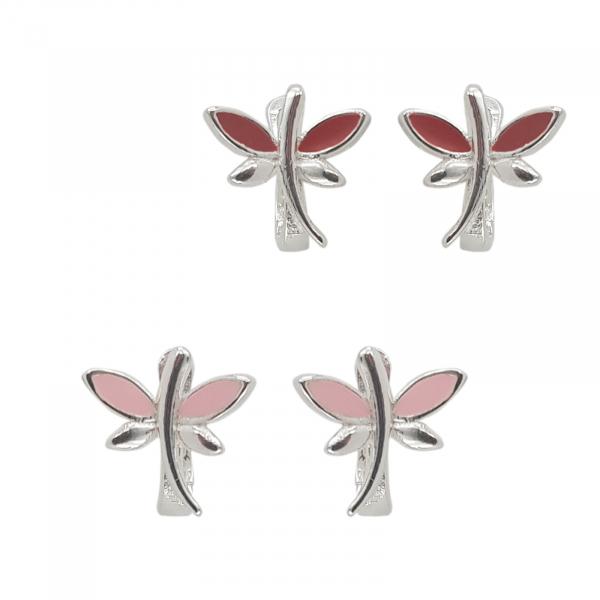 Cercei Argint 925% Pink DragonFly [3]