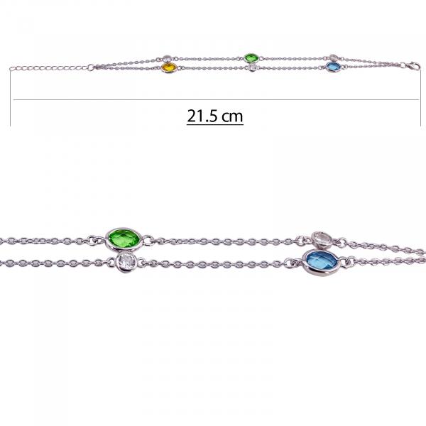 Bratara dubla Argint 925% cu zirconii colorate [2]
