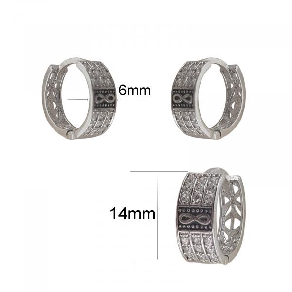 Creole Argint cu zirconia si simbolul infinitului, cod 2378 [1]