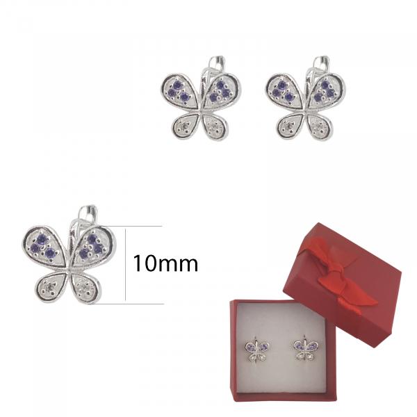 Cercei Argint fluturas cu cristale  mov-ametist,cod 2341M [2]