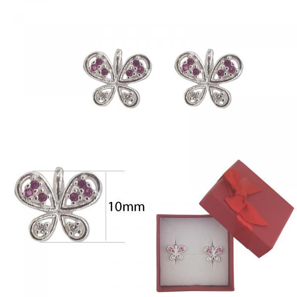 Cercei Argint fluturas cu cristale de zirconia rubinii,cod 2341R [2]