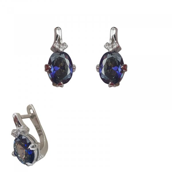 Cercei Argint cu Ink-blue zirconia, cod 2444 [0]