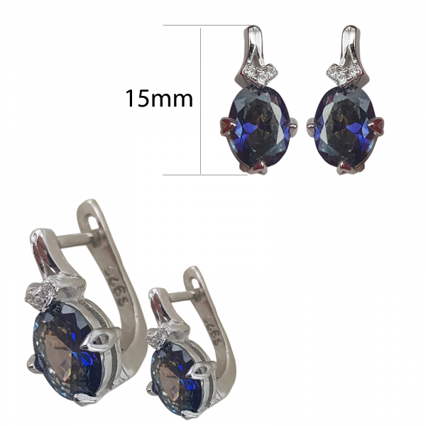 Cercei Argint cu Ink-blue zirconia, cod 2444 [1]