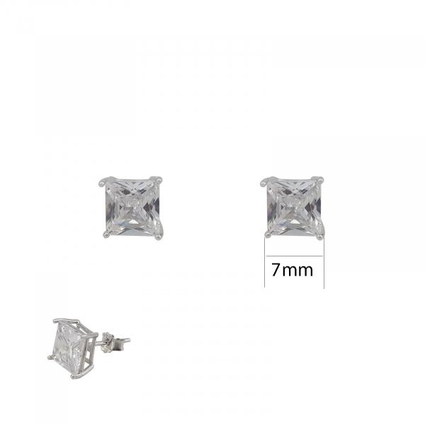 Cercei Argint zirconiu patrat alb, cod 1506-SQW7 [0]