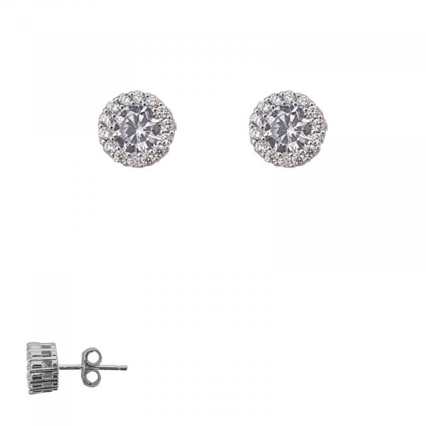 Cercei cu surub din Argint si pietre albe ,cod 2373 [0]