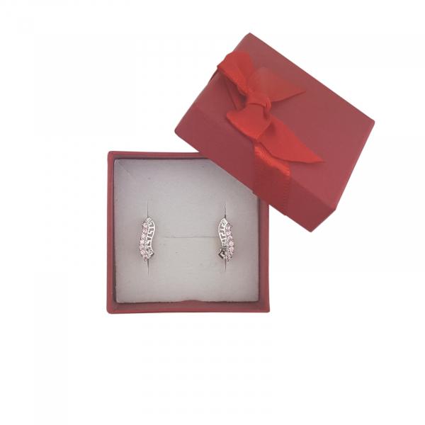 Cercei Argint cu motiv grecesc si cristale zirconia roz,cod 2346R [1]