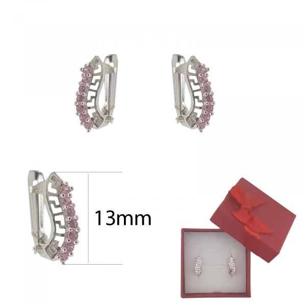 Cercei Argint cu motiv grecesc si cristale zirconia roz,cod 2346R [2]