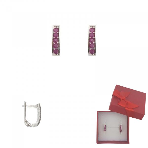 Cercei Argint cu cristale rubinii ,cod 2342 [0]