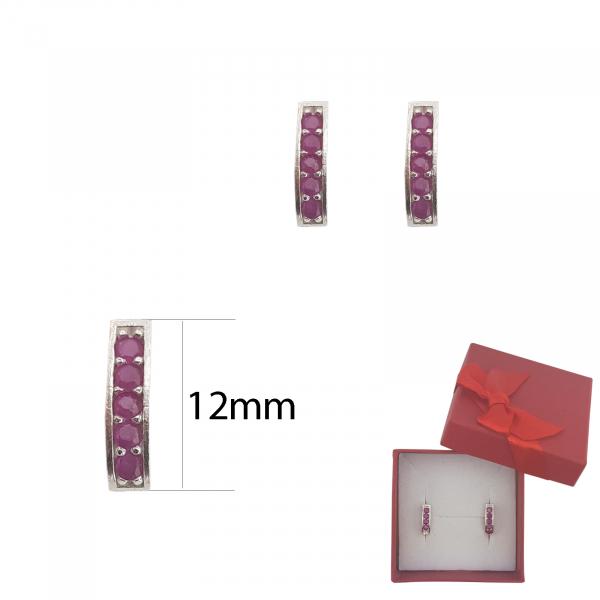 Cercei Argint cu cristale rubinii ,cod 2342 [2]