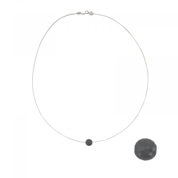 Colier Argint cu Onix pe silicon transparent 2327A [0]
