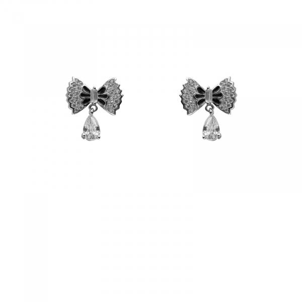 Cercei Argint 925% cu alb si negru [0]