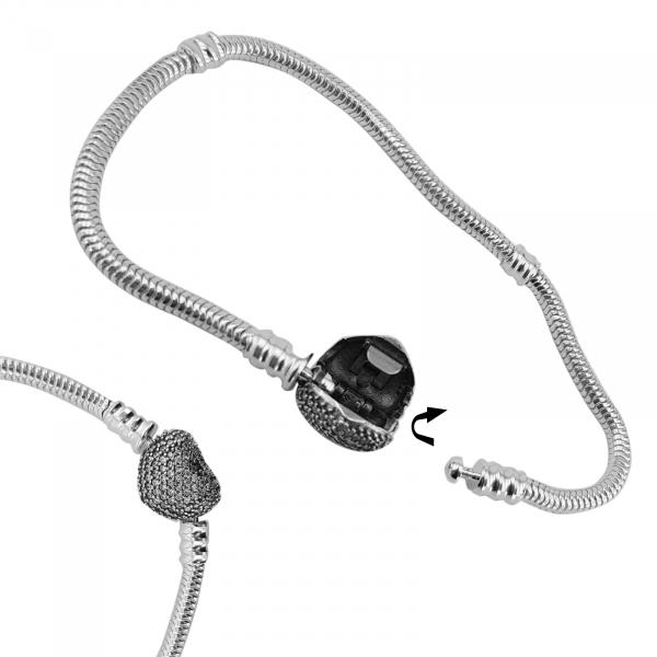 Bratara Argint 925% charm cu inchizatoare inimioara [2]