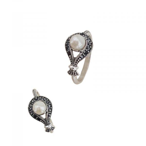 Inel Argint cu marcasite si perla, cod 2286 [0]