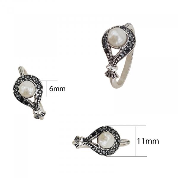 Inel Argint cu marcasite si perla, cod 2286 [1]