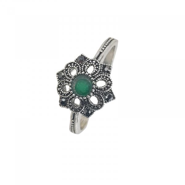 Inel Argint cu marcasite si piatra verde,cod 1981 [0]