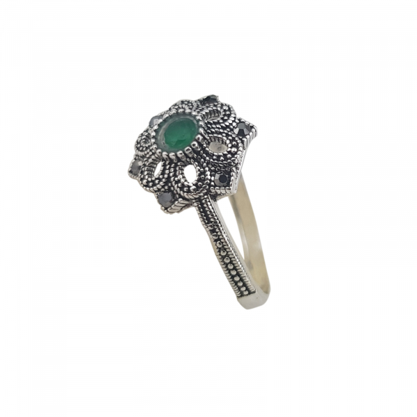 Inel Argint cu marcasite si piatra verde,cod 1981 [1]