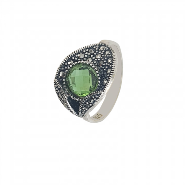 Inel Argint 925% cu marcasite si zirconiu verde [1]