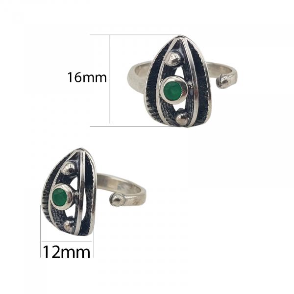 Inel Argint 925%  usor antichizat si piatra verde 2158 [2]