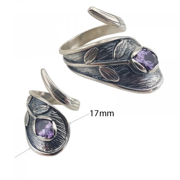 Inel Argint 925% antichizat cu zirconiu mov-2160 [3]