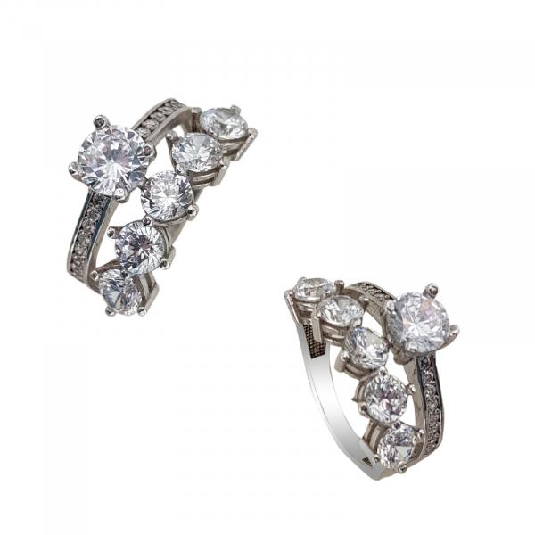 Inel Argint dublu cu zirconia, cod 1347 [1]