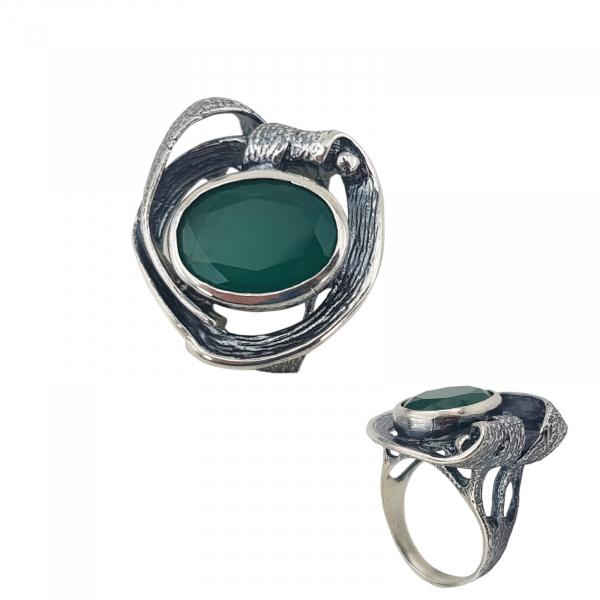 Inel Argint 925%  patinat cu piatra verde-2157 [0]